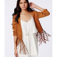 Missguided - Ivona Brown Fringed Faux Suede Jacket