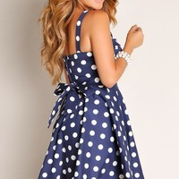 Navy Blue Retro Glam Flowy Wide Strap A-Line Cocktail Dress
