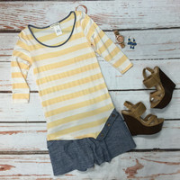 Button Side Stripe Top: Banana