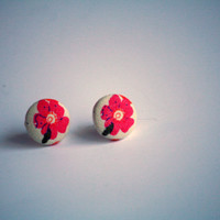 Pink Flower Fabric Earrings - Recycled Jewelry - Post Earrings