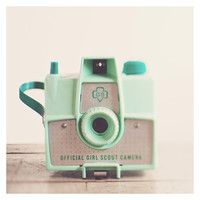 vintage savoy mint camera photo print - whimsical fine art still life photography, girl scouts, retro, nostalgic, lens - 8x8