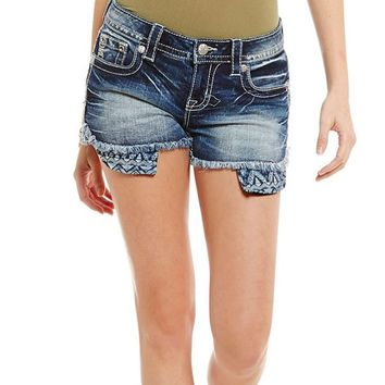 Miss Me Aztec Peek-A-Boo Pocket Shorts