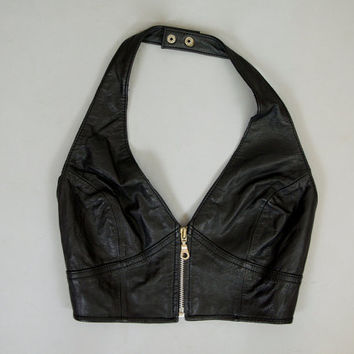vintage 80s-90s wilson's BLACK LEATHER halter BRA crop top w/ metal zipper, size small