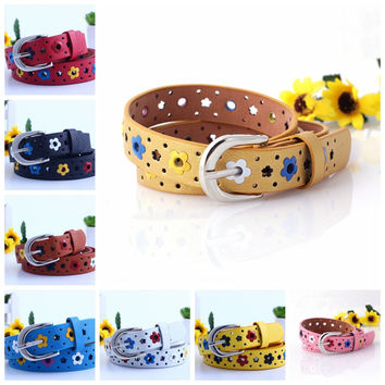 New KIDS CHILDREN BOYS GIRLS Hollow Flower Waistband Faux Leather Belt Silver Buckle