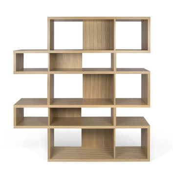 London Composition 2010-002 Oak Frame, Oak Backs Bookcase