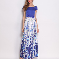 Blue Leaves Printed Chiffon Ribbon Waist Maxi Dress