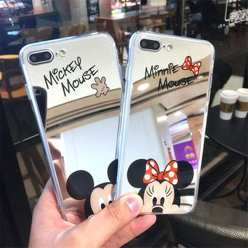 Mickey Mouse Soft TPU Case for iPhone 8 7 6 6S Plus Original Cute Cartoon Minnie Mirror Silicone Cases for iPhone X 5 5S SE