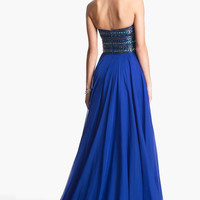 Sherri Hill Embellished Strapless Chiffon Gown (Online Exclusive) | Nordstrom