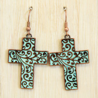 Aqua Cross Dangle Earrings - Earrings