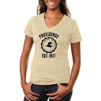 Providence Friars Ladies Old-School Seal Tri-Blend V-Neck T-Shirt - White