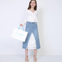 Autumn Stylish Denim Strong Character Patchwork Lace Skirt Women's Fashion Prom Dress [8511504711]