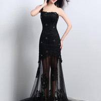 Black Beaded Floral Lace Single Strap Overlay Long Gown