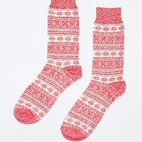 Fair Isle Twist Socks in Red - Urban Outfitters