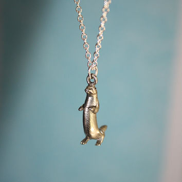 Tiny Otter Necklace otter pendant otter charm necklace otter jewelry sterling silver plated chain