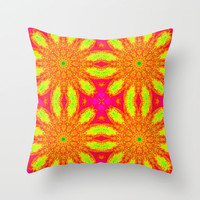 Hot Pink Sunburst Flowers Throw Pillow by 2sweet4words Designs | Society6