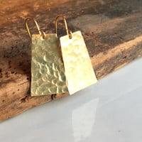 Hammered Earrings, Rectangular/ Angular Earrings, Tall Trapezoid, Artisan Earrings, Etsy, Etsy Jewelry, Brass Earrings