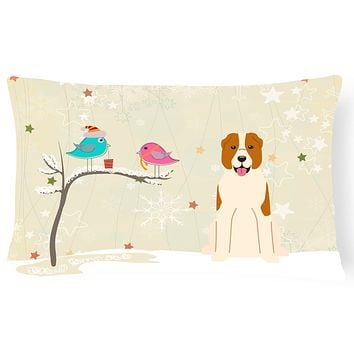 Christmas Presents between Friends Central Asian Shepherd Dog Canvas Fabric Decorative Pillow BB2521PW1216
