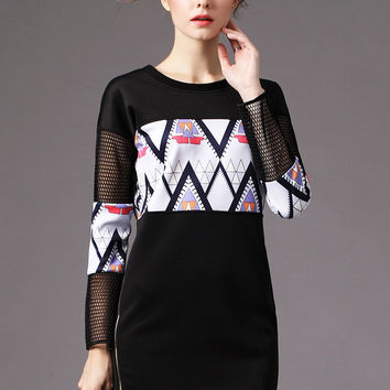 Black Geometric Print Long Sleeve Shift Mini Dress with Mesh Accent