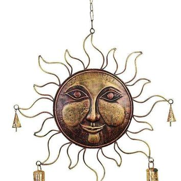 Benzara Metal Wind Sun Face Chime in Golden Finish with Fine Detailing
