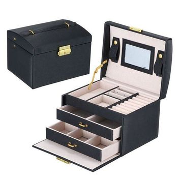 ac spbest GENBOLI Jewelry Box 3 Layers 2 Drawers Makeup Carrying Case Gifts Organizer Holder Storage Jewelry Packaging Box Casket