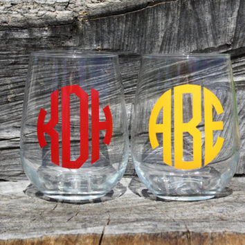 7 Personalized Monogram Stemless Wine Glasses. Great for bachelorette and wedding parties. Custom Wine glasses.