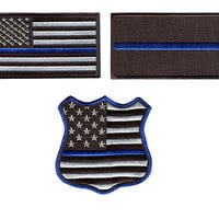 Awesome Large Blue Lives Matter Police Patch Iron-On Patches Badges Thin Blue Line