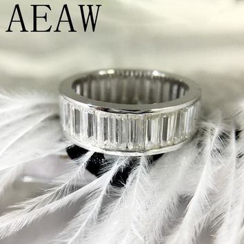 AEAW Emerald Baguette Enternity Wedding Engagement Ring 14K White Gold 2X5MM DF Color Lab Diamond Band for Women
