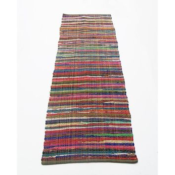 Regular Size Recycle Cotton Rainbow Chindi Rag Rug, Multicolor
