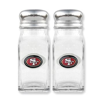 NFL 49ers Glass Salt and Pepper Shakers - Etching Personalized Gift Item