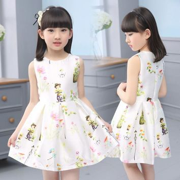 Children Girl Summer Fashion 2017 Cartoon Print Floral Girls Party Wedding Princess Belle Kid Dress Costume Little Maven Pudcoco