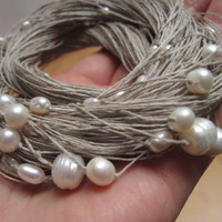 Natural Pearl Necklace White Cream Gray Organic Jewelry Multi Strand Necklace Bridal Wedding Jewelry