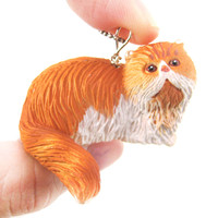 Orange and White Persian Kitty Cat Animal Plastic Pendant Necklace | Animal Jewelry