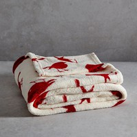 Robin Printed Fleece Christmas Throw (150cm x 130cm) - Matalan