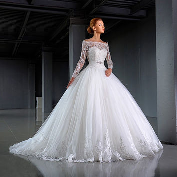 Vestido De Noiva Vintage Lace Long Sleeve Wedding Dress 2017 Strapless Tulle Appliques Crystal Sashes Ball Gown Wedding Dresses