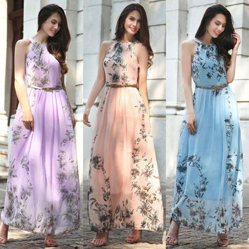 Women's Fashion Summer Plus Size Chiffon Prom Dress One Piece Dress [10016917517]