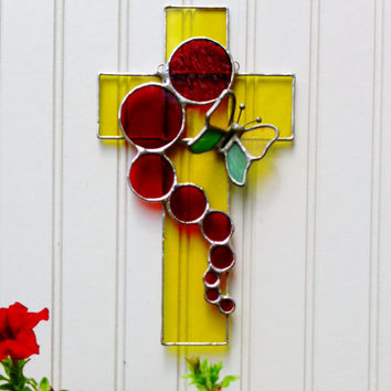 3D Butterfly Cross Stained Glass Sun Catcher Free Shipping