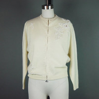 60s Ivory Beaded Sweater Angora Wool Blend Vintage 1960s Cream Lined Faux Pearls Gimbles Hong Kong