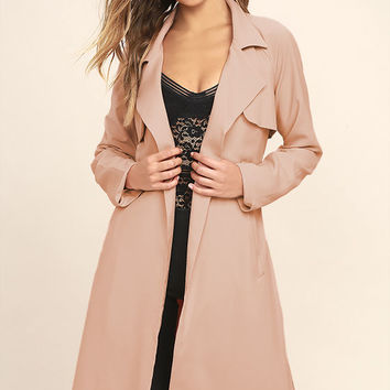 JOA Blissful Blush Pink Trench Coat
