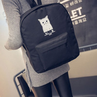 Cat Print College Style Casual Backpack Women Girls Cute Cartoon Backpack School Canvas Bags For Teenager