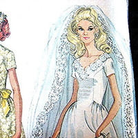 Vintage1960s Wedding Gown Dress Pattern and Bridesmaids Dress McCalls Misses size 8 UNCUT