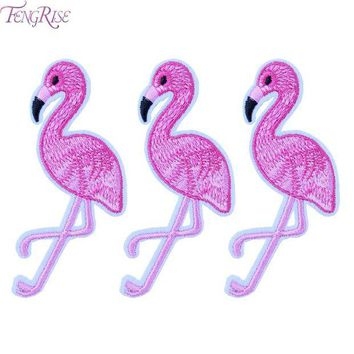 ac NOOW2 FENGRISE 10PCS Pink Flamingo Bird Animal Embroidered Patch Iron On Patches Applique Sewing Fabric Badge Stickers Accessories