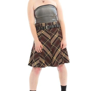 Vintage Y2K Wawa Plaid Midi Skirt - XL
