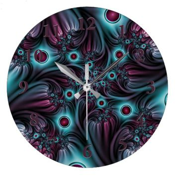Into the Depth Blue Pink Abstract Fractal Art Large Clock