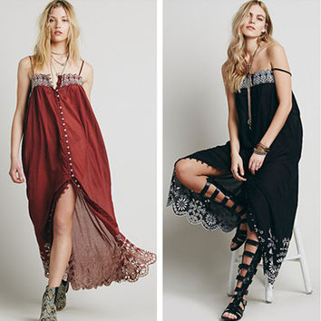 Fashion Sexy Retro Embroidery Flower Hollow Petal Sleeveless Cardigan Strap Maxi Dress