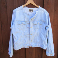 Sz L Distressed and Faded Denim Jacket Forenza 1990s Jean Jacket Collar Gone!