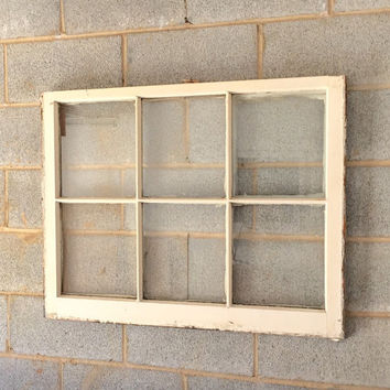 Vintage 6 Pane Window Frame - Off White, 36 x 28,  Rustic, Wedding, Beach Decor, Photos, Pictures
