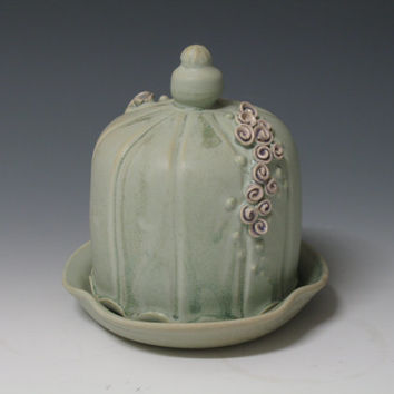 Green Butter Keeper with super cute flower buds- Handmade Ceramic Pottery by Heidi
