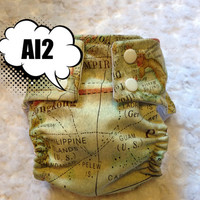 World Map All In Two (AI2) Cloth Diaper - One-Size or Newborn, S, M, L