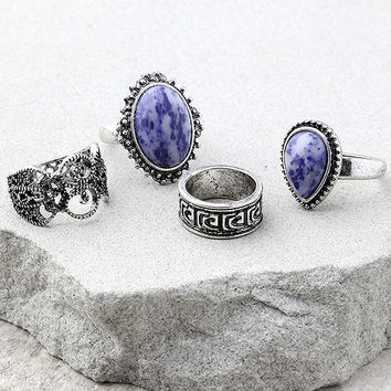 Boho Beauty Blue and Silver Ring Set