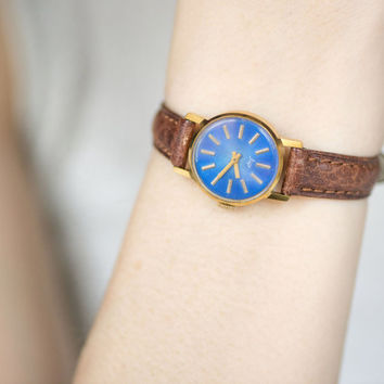 Soviet women's wrist watch gold plated watch marine blue face watch premium leather